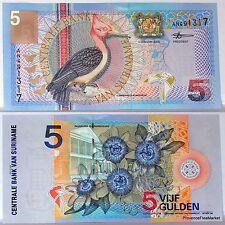 SURINAME billete nuevo de 5 GULDEN Pick146 pájaro PICO VERDE flor 2000
