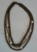 Vintage Statement Faux Pearl Copper Necklace Steam Punk Multi Strand Jewelry