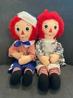 "Vintage Large Doll Pair RAGGEDY ANN and ANDY Dolls Approx 32"" Original Owner"