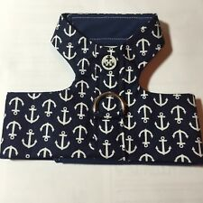 Navy Blue Anchor Handmade Dog Harness Vest XXS (1299)
