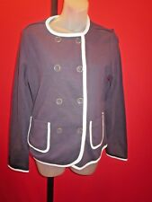 ~~LANDS' END Women's Navy White Trim Dress Jacket SZ 8~~Coat