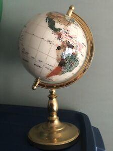 "Semi-precious Gemstone White Globe, appx 16"" Tall, 8"" Diameter, 27.5"" Circumf."