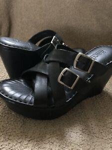 NIB Born women's Nolina black leather wedge sandal shoes 6M $115