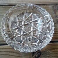 """vtg etched Lead Crystal Ashtray 5"""" Inches Across Swirl Pattern Stars 3 slot"""