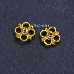 8.5mm 18k Solid Yellow Gold Handmade Quatrefoil Connector Charm Finding PAIR (2)