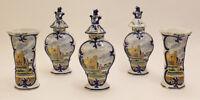 RARE antique dutch Mantle garniture Set 5 Pottery Delft polychrome Vases