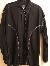 Vintage Versace Jeans Couture Men's Black 100% Cotton Stitched Shirt, Size XXL.
