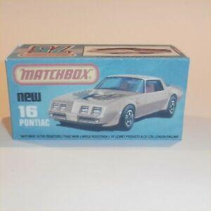 Matchbox Superfast 16 g Pontiac Firebird Trans Am Repro K Style Box