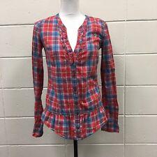 HOLLISTER Womens Red Blue Plaid Button Front Flannel Shirt Sz S Peplum Bottom