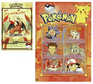 Sellos Pokemon Antigua Barbuda año 2001 stamps Nintendo