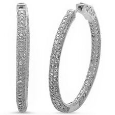 Micro Pave Cz Hoop .925 Sterling Silver Earrings