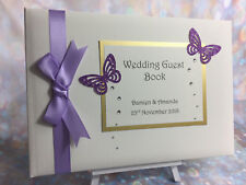 Diamante & Glitter Butterfly Personalised Wedding / Anniversary Guest Book