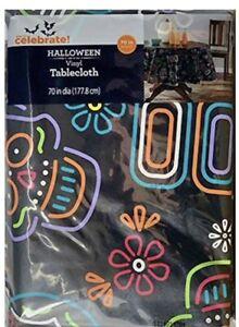 Halloween Day of the Dead Sugar Skulls Black Vinyl Tablecloth 70in Round