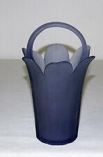 "Vintage Mikasa Purple Frosted Glass Basket Vase  8"" T"