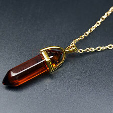 New Stunning Hexagonal Pointed Stone Chakra Healing Necklace Pendant Charms Bead