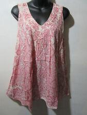 Top Fits XL 1X 2X 3X Plus Tunic Pink Tie Dye Sequins V Neck Long Tank NWT G525