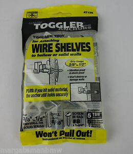 5x Genuine Toggler Anchors for attaching Wire Shelves hollow/solid walls 5TBW