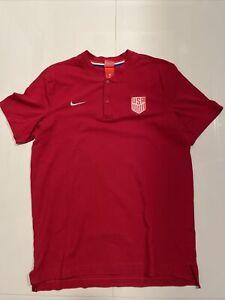 Nike Soccer USMNT USA National Team Henley Shirt Men Size Large Red