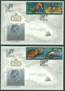 ROMANIA 2007 FAUNA OF BLACK SEA  TURTLE WHALE FISH SET FIRST DAY COVERS FDCs