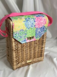 Lilly Pulitzer Wicker Woven Wine Picnic Basket Floral Print Pink Green Gift Tote