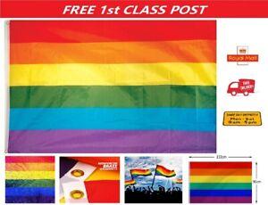 5ft X 3ft Gay Pride Rainbow Flag LGBT Festival Diversity Celebration Polyester