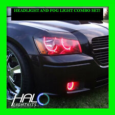 2005-2007 ORACLE DODGE MAGNUM RED PLASMA HEADLIGHT+FOG HALO ANGEL EYE RINGS 6PC