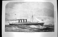 Original Old Antique Print 1872 Mr. S. J. Mackie'S Channel Passage Steamer Ship