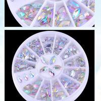 2 Sizes Colorful Nail Art Tips Crystal Glitter Rhinestone Decoration Wheel 2018