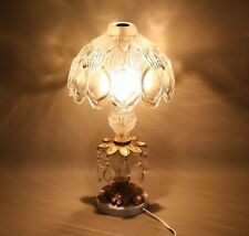 Vintage Antique Crystal and Glass : Table Lamp Embossed Glass Shade RARE Romania