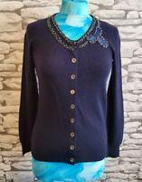 Jigsaw Navy Wool & cashmere beaded embellished neckline sample cardigan  S 10 uk