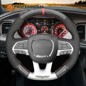 PU Carbon Fiber Suede Steering Wheel Cover for Dodge (SRT) Challenger Charger