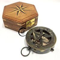 Valentine Replica Brass / Sun-Dial With Hardwood Box Marine Nautical Compass