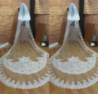 Long Wedding Veils Cathedral with Comb 2 Tiers Sequin White Ivory Lace Appliqued