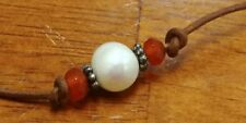 SS 925 Luann Udell Cultured Pearl Faceted Orange Bead Leather Cord Necklace