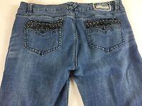 LA Idol Jeans VTG 90s Juniors 13 Bling Stones Black 34 x 31.5 Actual Pants Denim