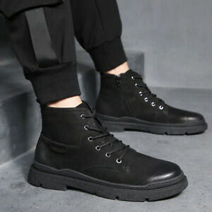 Mens Casual Round Toe Lace Up Ankle Boots Non-Slip Flats Sports Hiking Shoes