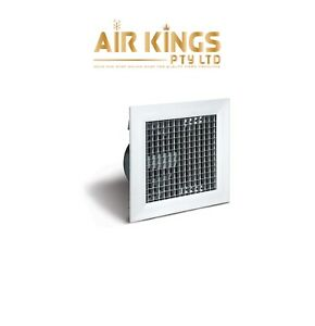 SET OF 2 FIXED CORE 200MM X 200MM EGGCRATE GRILLES WITH 200MM NECK ADAPTOR