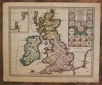 "Orig. kol. Stahlstichkarte von Weigel ""Insulae Britannicae Antiquae"" um 1720 sf"