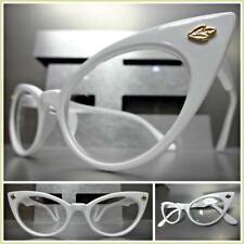 CLASSIC VINTAGE RETRO CAT EYE Style Clear Lens EYE GLASSES White Fashion Frame