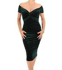 Velour Bardot Dress - Knee Length Green 18