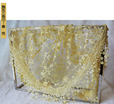 Ladies Lace Tassel Rose Floral Knit Mantilla Triangle Hollow Scarf Shawl Wraps