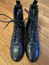 Ariat Black Leather Upper Lace Up Paddock Boots Girls Size 4