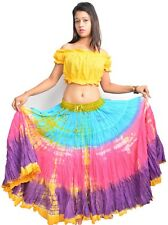 """Tie Dye Tribal Gypsy Skirt 25 Yard 40"""" Long 4 Tiered Belly Dance Outfits - WEVEZ"""
