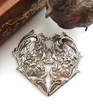 ~ Victorian Oxidized Findings (Fc-10) Antique Silver Floral Heart Stampings