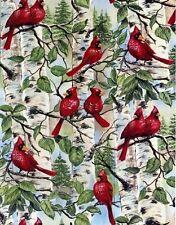 Red Bird Birds in Tree Branches Cardinal Cardinals Fleece Fabric Print A237.03