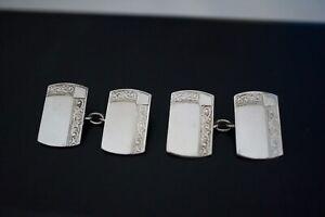 Vintage 925 Sterling Silver Etched Ornate DesignDouble Side Cufflinks