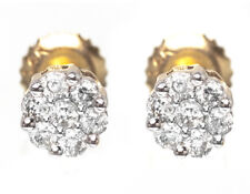 14k Yellow Gold Round Cut Diamond Flower Cluster Stud Earrings 5mm .15 Ct