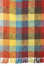 New with Tags Pier One Throw Blanket Fall Colors 5 in Checks Super Soft Chenille