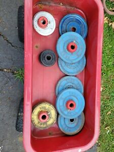 Vintage York Bar Bell  Weight Plates Lot (14)  80 Lbs. Double Sided York Name