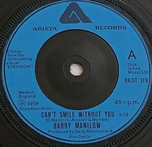 """Barry Manilow - Can't Smile Without You - 7"""" Single - 1978"""